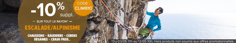 -10% supplémentaires sur tout le rayon Escalade : baudrier, cordes, chaussons