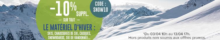 -10% supplémentaires sur tout le matériel d'hiver : Ski, Snowboard, Ski de Randonnée…