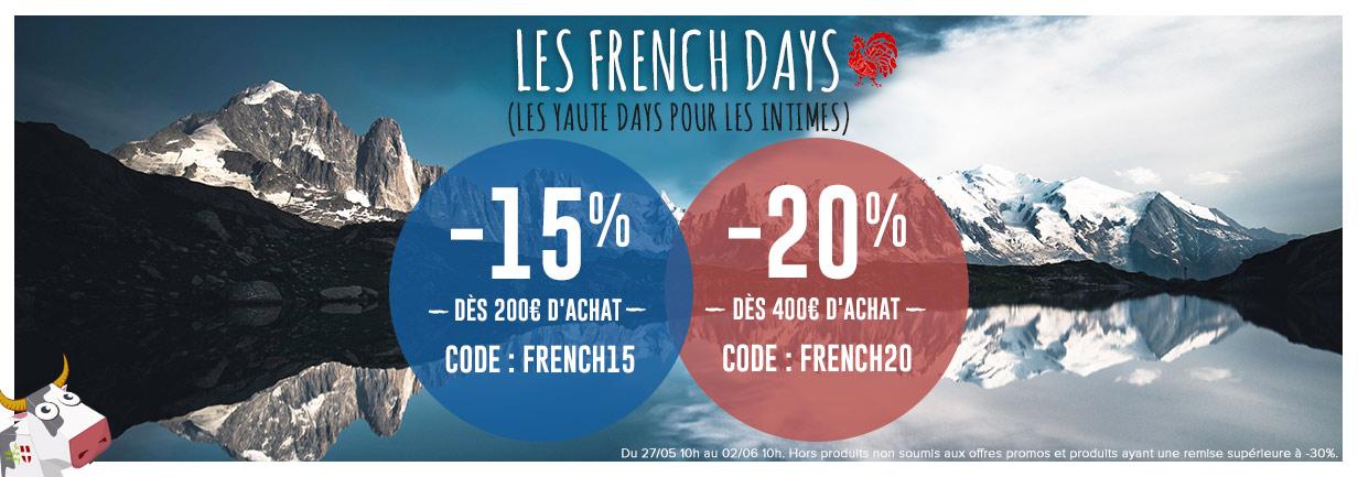 French Days -15% de réduction dès 200€ d'achat et -20% dès 400€ d'achat