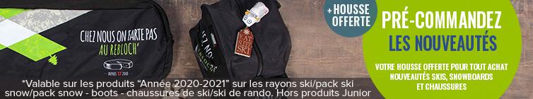 Votre housse offerte pour tout achat Nouveautés skis, snowboards et chaussures.