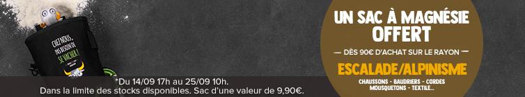 Un sac à magnésie Snowleader offert dès 90€ d'achat sur le rayon Escalade/Alpinisme
