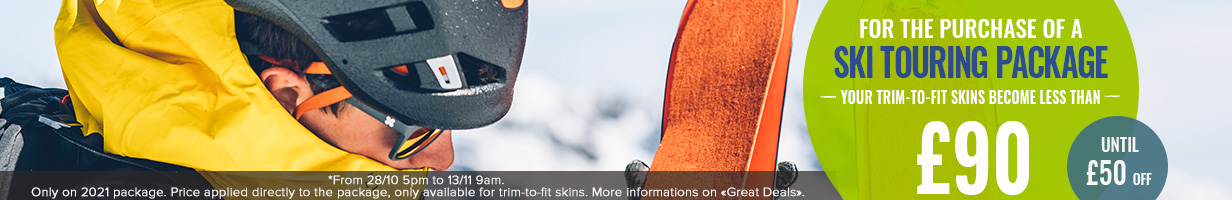 For the purchase of a ski touring package, Your trim-to-fit skins become less than £90, so until £50 off.