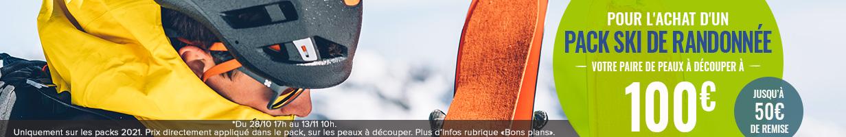 Pour l'achat d'un Pack Ski de Randonnée, bénéficiez de la paire de peaux à découper au choix à 100€ soit jusqu'à 50€ de remise