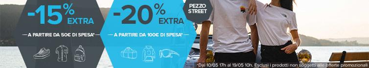 -15% extra sa partire da 50€ di spesa, -20% a partire da 100€ di spesa