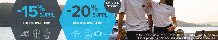 -15% supplémentaires dès 50€ d'achats et -20% supplémentaires dès 100€ d'achats sur l'univers Street !