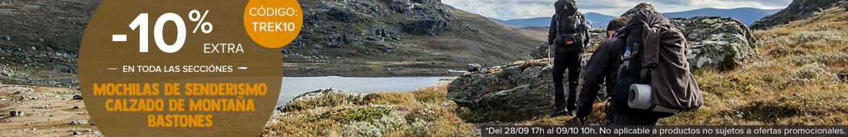 -10% extra en todo las secciones Mochilas de senderismo, Calzado de montana, Bastones