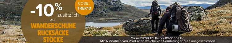 -10% zusätzlich auf Wanderschuhe, Rucksäcke und Stöcke : Deuter, Millet, Black Diamond..