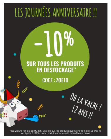 C'est les Zoé Days ! Profitez de -10% sur les produits en destockage