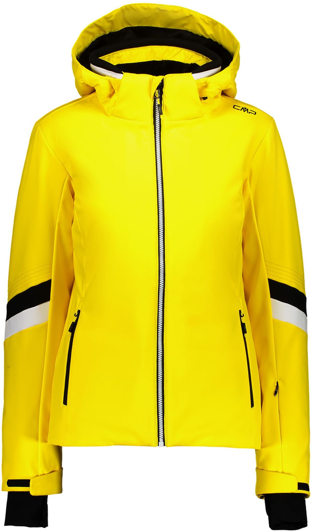 Woman Jacket Zip Hood Yellow