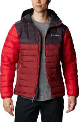 Powder Lite Hooded Jacket M Red Jasper Dark Purple Mountain Red