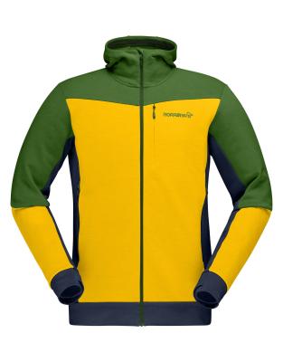Falketind Warmwool2 Stretch Zip Hood M Lemon Chrome/Treetop