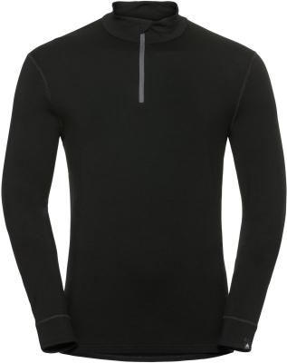 T-Shirt ML 1/2 Zip Natural Black-Black