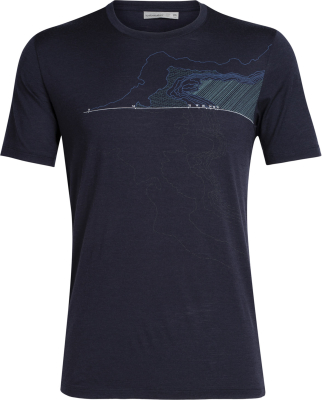 Mens Tech Lite SS Crewe Glacial Lines Midnight Navy