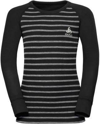T-Shirt ML Active Warm Enfants Black/Grey Melange Stripes