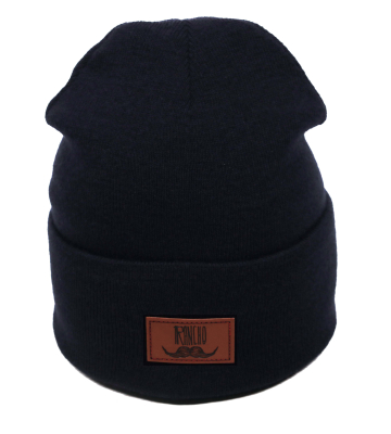 Rancho Leather Beanie Navy