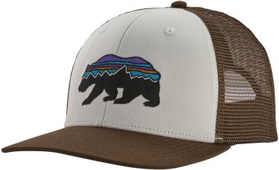Fitz Roy Bear Trucker Hat White w/Bristle Brown
