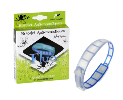 Bracelet anti insectes phosphorescents Bleu