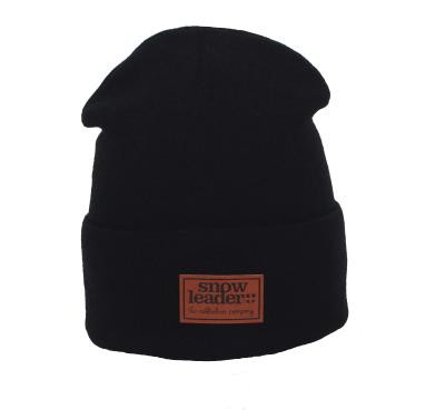 Snowleader Leather Beanie Black