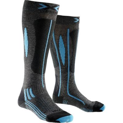 Socks Ski Race Women Grey/Black/Turquoise