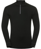 T-Shirt ML 1/2 Zip Natural 100% Merino Warm Black/Black