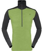Wool Zip Neck M Bamboo Green Charcoal