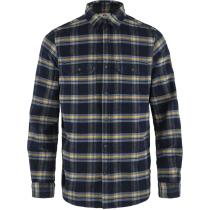 Buy Övik Heavy Flannel Shirt M Dark Navy-Buckwheat Brown