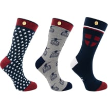 Cabaia x Snowleader 3 Pack Socks M Navy/Grey