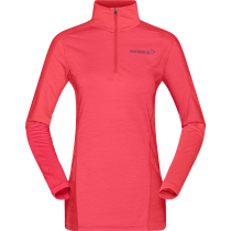 Buy Equaliser Merino Zip Neck W'S Crisp Ruby