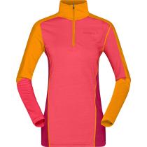 Kauf Equaliser Merino Zip Neck W'S Crisp Ruby Rhubarb