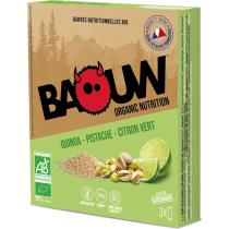Achat Etui 3 barres bio 25g Baouw Quinoa-Pistache-Citron Vert