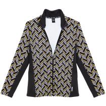 Acquisto Ladie Full Zip Printed Fleece Sunflower-Black-White