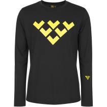 Buy M Black Merino Long Sleeve Chevron Tee Black/Yellow