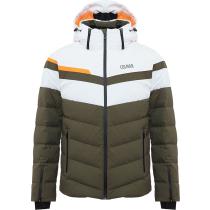 Achat Mens Down Ski Jacket Hokkaido Jungle-White-Orange