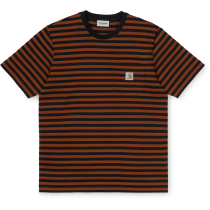 Kauf S/S Parker Pocket T-Shirt Regular Parker Stripe, Black / Brandy