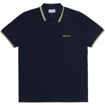 Buy S/S Script Embroidery Polo Dark Navy / White / Limoncello