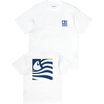 Buy S/S Waving State Flag T-Shirt Loose White / Lapis