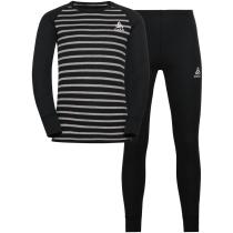 Buy Set Active Warm Eco Enfant Black/Grey Melange/Stripes