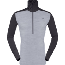 Buy Wool Zip Neck M Mid Grey