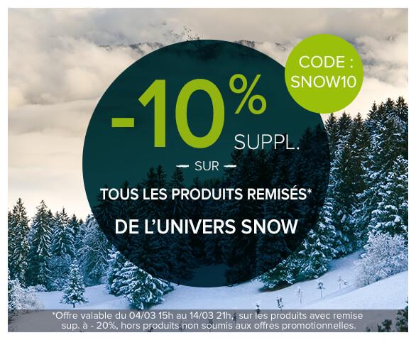 -10% supplémentaire sur tous les produits remisés de l'univers snow !