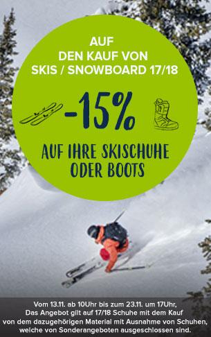 Auf den kauf von skis/snowboard 17/18, -15% auf ihre skischuhe oder boots
