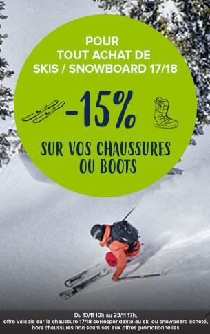 Pour tout achat de skis/snowboard 17/18, -15% sur vos chaussures ou boots