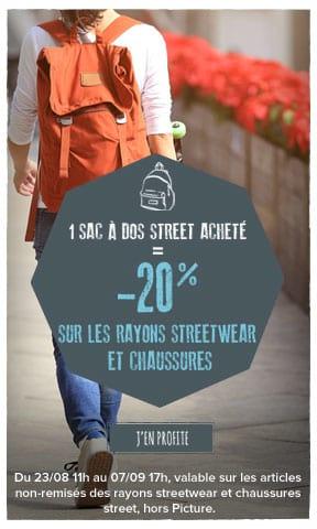 Un sac à dos street acheté : -20% sur les rayons streetwear et chaussures !