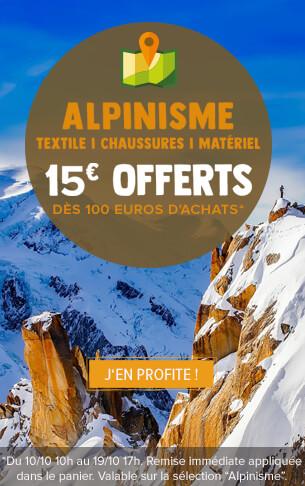 15 euros offerts des 100 euros d'achats sur la sélection Alpinisme