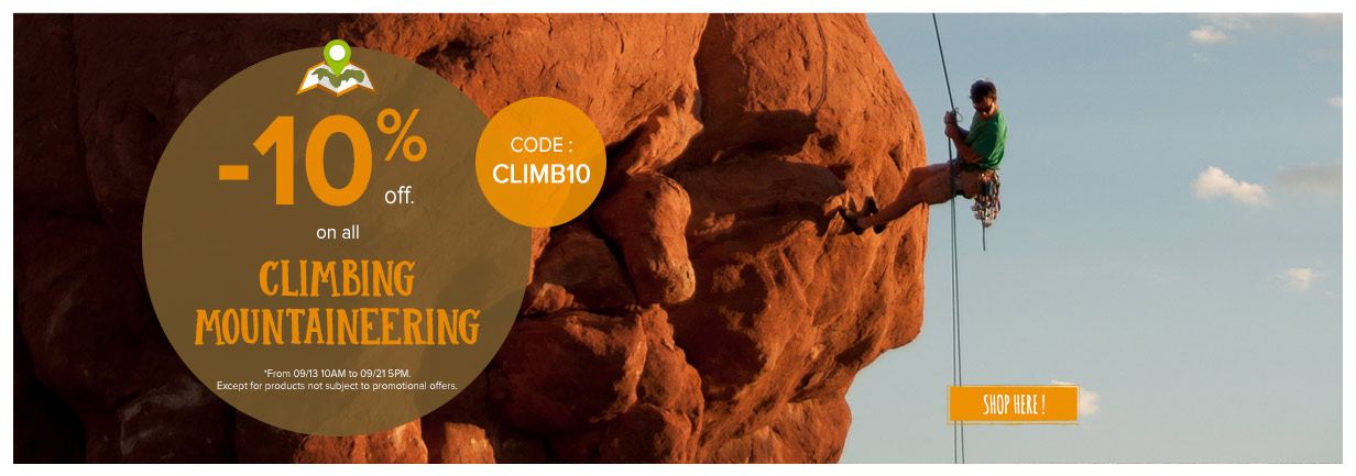 -10% off on all climbing mountaineering