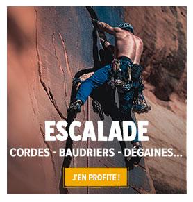 Découvrez notre rayon escalade/alpinisme : cordes, baudriers, chaussons...