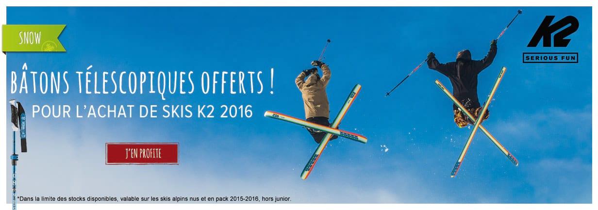 Une paire de bâtons offerte pour l'achat de skis K2 !