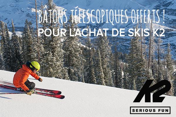 Bâtons télescopiques offerts pour l'achat de skis K2