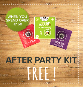 Free after party kit when you spend over 150€