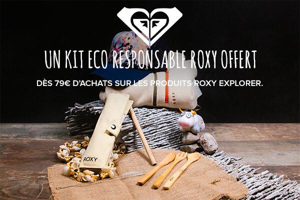 Profitez d'un kit eco responsable offert dès 79€ d'achats sur les produits roxy explorer.