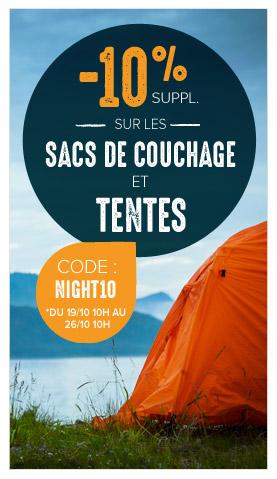 -10% suppl. sur les tentes et sacs de couchage !